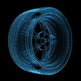 genomskinligt glödande gummihjul för blå bil Royaltyfri Fotografi