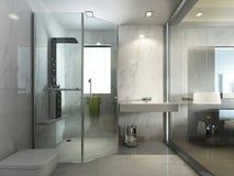 Genomskinligt glass badrum med duschen och WC vektor illustrationer