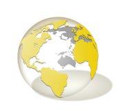 Genomskinligt glass isolerat världsjordklot Royaltyfri Foto