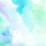 Genomskinligt ljus för vattenfärgtextur - blått abstrakt bakgrund, fläck, suddighet, påfyllning Arkivfoton