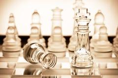 genomskinligt schackexponeringsglas Royaltyfri Foto