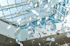 Genomskinligt tak, runda garneringar, blå himmel över Fotografering för Bildbyråer