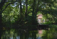 Genomskinligt vatten på Ohrid sjön Arkivbild