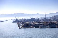 Genova端口的全景在意大利。 免版税库存图片