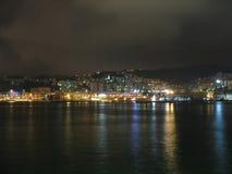 Genova alla notte fotografia stock libera da diritti
