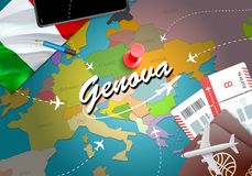 Genova city travel and tourism destination concept. Italy flag a. Nd Genova city on map. Italy travel concept map background. Tickets Planes and flights to vector illustration