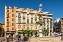 Genova fountain at the Place of Constitution in Malaga - Spain Royalty Free Stock Photos