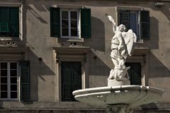Genova, Italia 04/05/2019 Fontana del Genio Marino fotografia stock