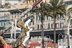 Genova, Italy. July 6, 2014. Galeon Neptune. Used in the movie Pirates of Roman Polanski stock photography