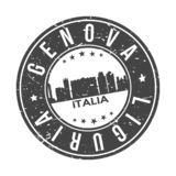 Genova Liguria Italy Europe Round Button City Skyline Design Stamp Vector Travel Tourism. Skyline with emblematic Buildings and Monuments of this famous city vector illustration