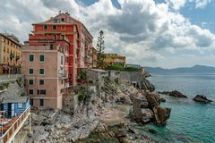 Genova Nervi historical village district houses. Genova Nervi historical village district typical painted houses Royalty Free Stock Photos