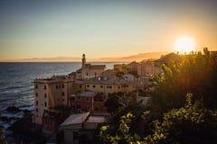 Genova på solnedgången Arkivfoto