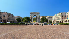 Genova - Piazza della Vittoria. Piazza della Vittoria - Victory square in Genoa with the arc of triumph, Liguria , Italy Stock Photos