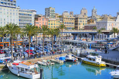 Genova port. Old port in Genova and promenade area Royalty Free Stock Images