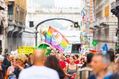 Genova Pride Parade 2019. Genova Pride Parade on 15.06.2019. The parade was from via Balbi to piazza de Ferrari. Colorful dressed people celebrating pride month stock image