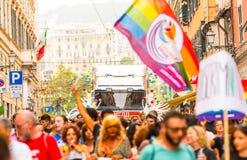 Genova Pride Parade 2019. Genova Pride Parade on 15.06.2019. The parade was from via Balbi to piazza de Ferrari. Colorful dressed people celebrating pride month royalty free stock image