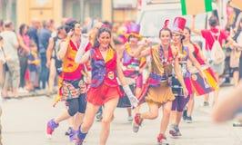 Genova Pride Parade 2019. Genova Pride Parade on 15.06.2019. The parade was from via Balbi to piazza de Ferrari. Colorful dressed people celebrating pride month stock photos