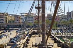 Genova - sikt från Neptunspansk gallion Arkivfoton
