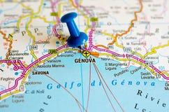 Genova sulla mappa fotografie stock