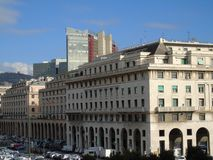 Genova in summer days with some streets. Beautiful caption of some buildings from the public houses in Genova stock image