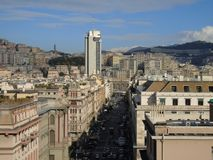 Genova in summer days with some streets. Beautiful caption of some buildings from the public houses in Genova royalty free stock images