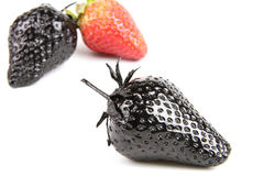 Genovariation. Red and black strawberry isolated on white background Stock Image