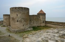 Genovese Citadel With Court Tower In Old Akkerman Fortress,Ukraine Stock Photos