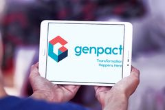 Genpact professional services company logo. Logo of Genpact company on samsung tablet. Genpact is a global professional services firm that helps businesses drive royalty free stock images