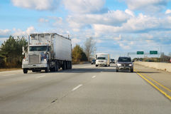 Genral highway. General highway photo with white truck Royalty Free Stock Image