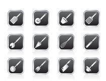 Genre différent d'accessoires de cuisine et d'icônes d'équipement Image stock