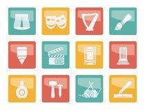 Genre différent d'icônes d'art au-dessus de fond coloré illustration de vecteur
