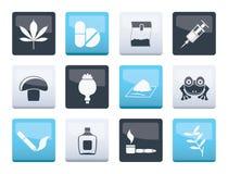 Genre différent d'icônes de drogue au-dessus de fond de couleur illustration de vecteur