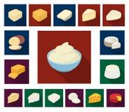 Genre différent d'icônes plates de fromage dans la collection d'ensemble pour la conception Web d'actions de symbole de vecteur d illustration de vecteur