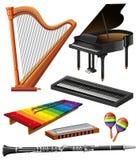 Genre différent d'instruments de musique illustration stock