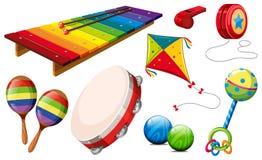 Genre différent d'instruments de musique et de jouets Photographie stock libre de droits