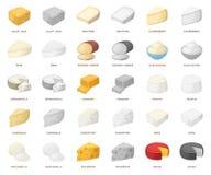 Genre différent de bande dessinée de fromage, icônes de monochrom dans la collection réglée pour la conception Actions de symbole illustration stock
