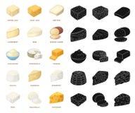 Genre différent de bande dessinée de fromage, icônes noires dans la collection réglée pour la conception Web d'actions de symbole illustration libre de droits