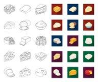 Genre différent de contour de fromage, icônes plates dans la collection réglée pour la conception Web d'actions de symbole de vec illustration stock