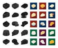 Genre différent de fromage noir, icônes plates dans la collection réglée pour la conception Web d'actions de symbole de vecteur d illustration de vecteur