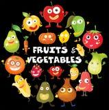 Genre différent de fruits et légumes Illustration de Vecteur