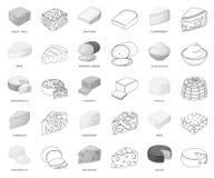 Genre différent de monochrome de fromage, icônes d'ensemble dans la collection réglée pour la conception Actions de symbole de ve illustration de vecteur