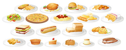 Genre différent de nourriture des plats Image stock