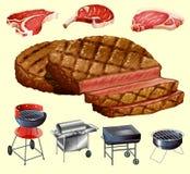 Genre différent de viande et d'équipement de gril Photo stock
