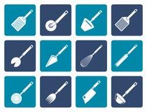 Genre différent plat d'accessoires de cuisine et d'icônes d'équipement Images stock