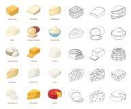 Genre diff?rent de bande dessin?e de fromage, ic?nes d'ensemble dans la collection r?gl?e pour la conception Web d'actions de sym illustration stock