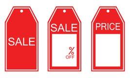 Genre trois d'étiquettes rouges de vente Photos stock