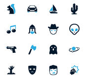 Genres of cinema icons set Stock Images