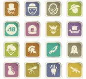 Genres of cinema icons set. Set of movie genres black icons isolated on white. Vector illustration Stock Images