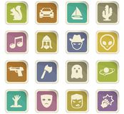 Genres of cinema icons set. Set of movie genres black icons isolated on white. Vector illustration Stock Photos