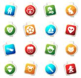 Genres of cinema icons set. Set of movie genres color icon for web sites and user interfaces Royalty Free Stock Image